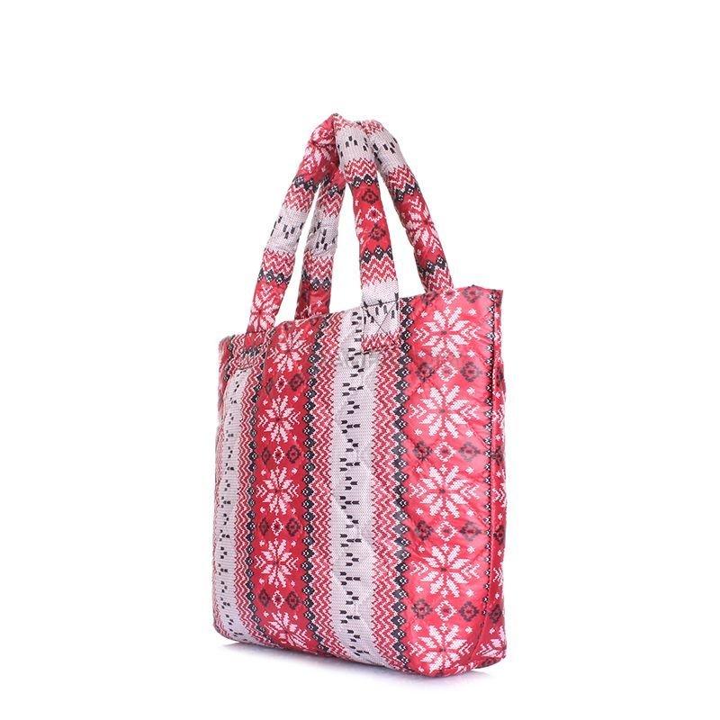 8bf4ed2e844e Женская дутая сумка POOLPARTY с северным узором (pp11-red-vertical ...