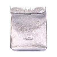 Кожаная сумка-клатч POOLPARTY Lunchbox (lunchbox-silver)