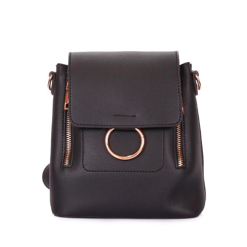 d905ce154ad2 Женская сумка-рюкзачок Poolparty mns-zipp-black - компактная модель от  украинского производителя. Основное отделение, внутренний карман, магнитная  застежка.