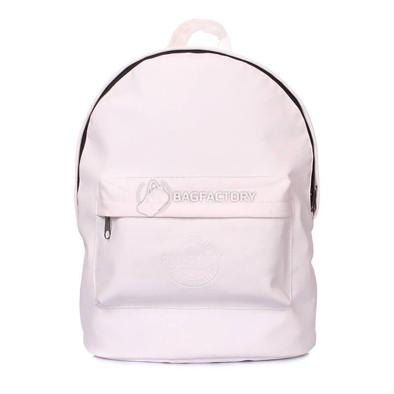 4c643800148b Стильный городской рюкзак Poolparty backpack-pu-white - выполнен из  качественной искусственной кожи. Одно отделение, наружный карман, застежка