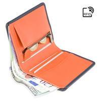 Кошелек мужской Visconti Piana c RFID Steel Blue-Orange (PLR70 ST/BL/OR)